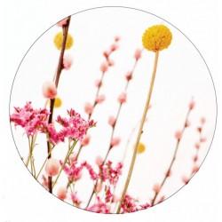 Muurcirkel pink en yellow flowers 40 cm